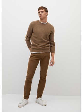 MANGO - Slim Fit Denim-effect Corduroy Trousers TABACCO