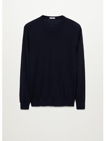 MANGO - 100% Merino Wool Washable Sweater NAVY