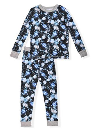 SLEEP ON IT - Fitted Space Print Pajamas (2T-4T) BLACK