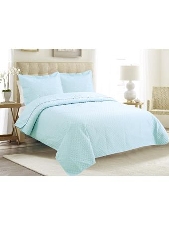 EDEN & WEST -  Serene Diamond Coverlet Set BLUE