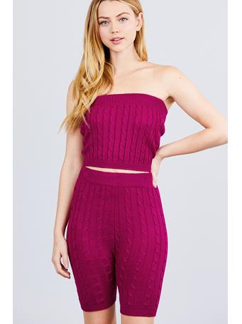 ACTIVE BASIC - Sweater Knit Tube Top DK PURPLE