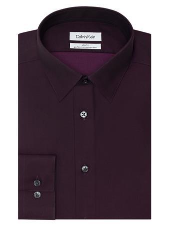CALVIN KLEIN - Men's Dress Shirt Slim Fit Non-Iron Herringbone BORDO