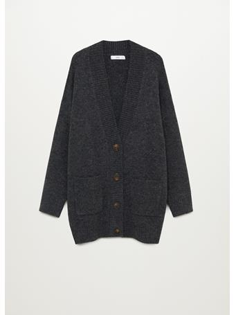 MANGO - Button Knit Cardigan DARK GREY