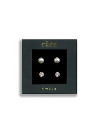 CARA - 8mm Fresh Water Round Pearl & 6mm CZ Studs 2-Pair Set PRL/CZ/GLD