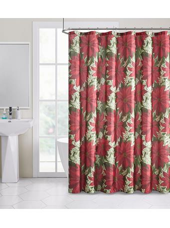 HOLIDAY -  Pretty Poinsettia Shimmer Shower Curtain RED
