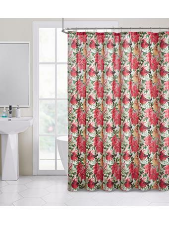 HOLIDAY -  I See Birds Lurex Shower Curtain RED