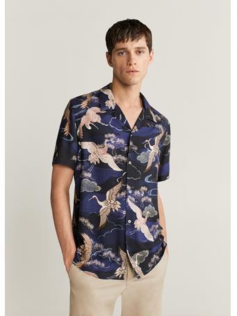 MANGO - Printed Flowy Shirt NAVY