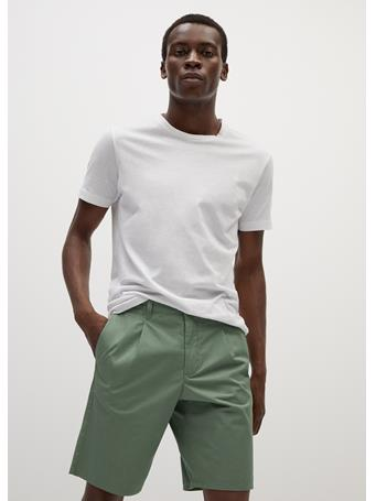 MANGO - Cotton Pleated Bermuda Shorts MINT