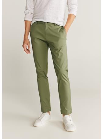 MANGO - Tapered Fit Cropped Pants KHAKI
