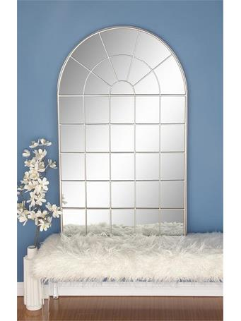 "UMA - Rounded Windowpane Metal Mirror 56""x34"" SILVER"