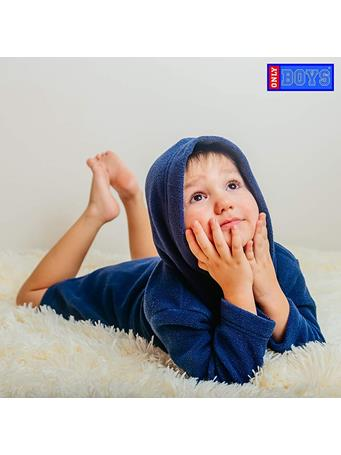 ONLY BOYS - Plush Solid Fleece Robe with Character Hood GREY