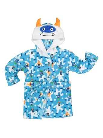 ONLY BOYS - Plush Solid Fleece Robe with Character Hood BLUE