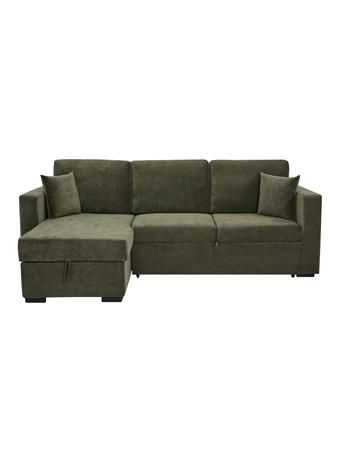 PARK SLOPE - Sleeper Sofa with Storage & Chaise LAF OLIVE