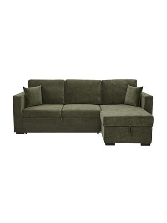 PARK SLOPE - Sleeper Sofa with Storage & Chaise RAF OLIVE