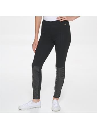 CALVIN KLEIN - Vegan Leather Combo Leggings BLACK