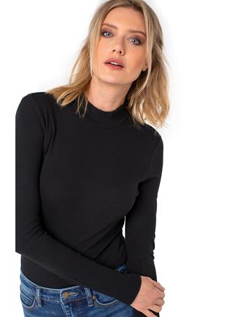 LIVERPOOL JEANS - Mock Neck Long Sleeve Rib Knit Tee BLACK