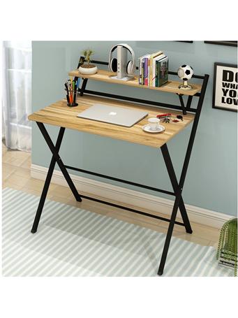 Folding Desk with Top Shelf BLACK