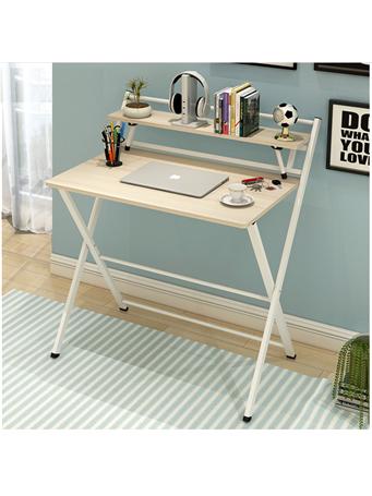 Folding Desk with Top Shelf WHITE