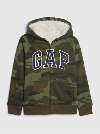 GAP - Kids Coziest Gap Logo Hoodie GREEN CAMO