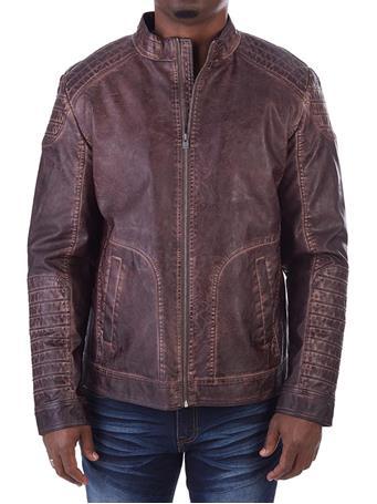 XRAY -Vegan Leather Biker Jacket BROWN