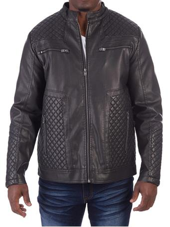 XRAY - Vegan Leather Quilted Jacket BLACK