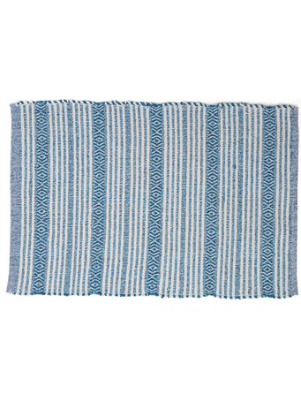 HOME ESSENTIALS - Cotton Scatter Rug  - Turquoise  Stripe TURQUOISE STRIPE