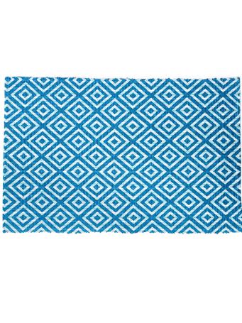 HOME ESSENTIALS - Cotton Scatter Rug Diamond Turquoise TURQUOISE DIAMOND