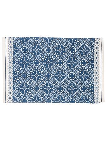 HOME ESSENTIALS - Cotton Scatter Rug-Blue Tile Printe BLUE TILE