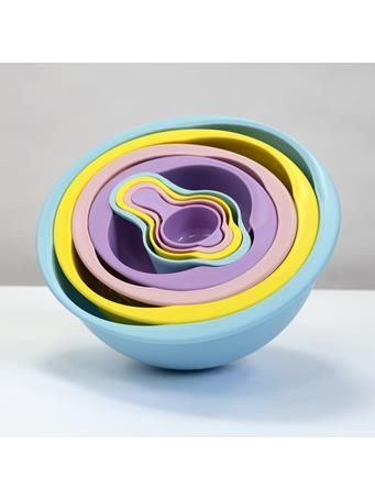 8 Piece Color Compact Food Prep Plastic Nesting Mixing Bowl Set - Multi Colour No Color
