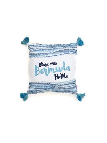 HELLO BERMUDA - Decorative Pillow Bless Our Bermuda Home with Tassels BLUE