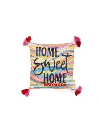HELLO BERMUDA - Decorative Pillow Home Sweet Home Bright With Tassels BRIGHT