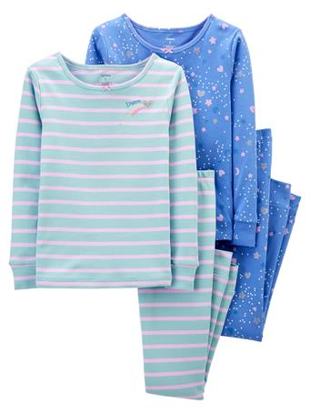 CARTER'S - 4 Piece Snug Fit Cotton Pajama Set - (5-8) BLUE