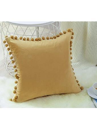 MAISON LUXE - Velvet Pom-Pom Decorative Cushion WHEAT