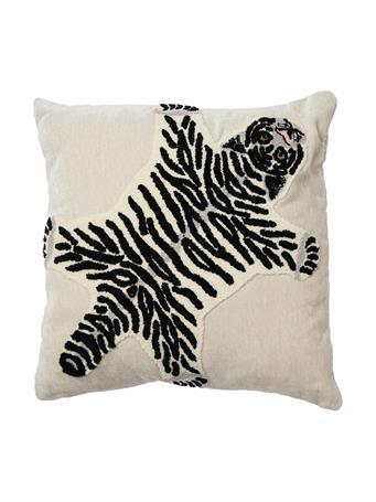 MAISON LUXE - Tiger Rug Square Decorative Pillow WHITE