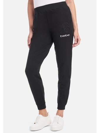 BEBE - French Terry Active Logo Pants BLACK