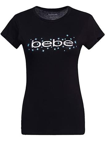 BEBE - Glitter Foil Logo Tee BLACK