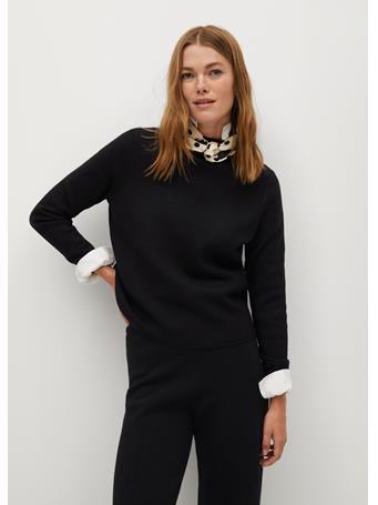 MANGO - Chimney Fine-Knit Sweater BLACK