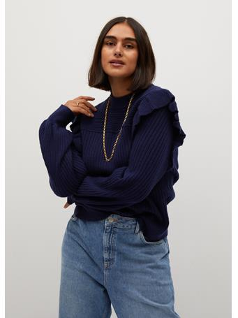 Violeta by MANGO - Ribbed Sweater with Ruffles NAVY