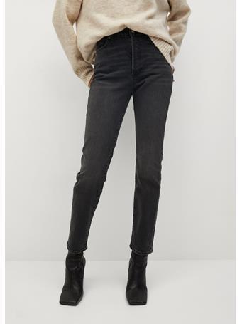 MANGO - Slim-Fit High Waist Jeans BLACK