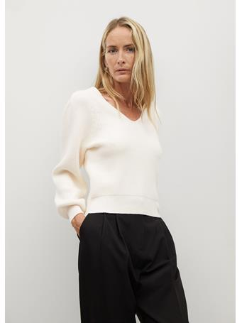 MANGO - Puffed Sleeves Ribbed Sweater NATURAL WHITE