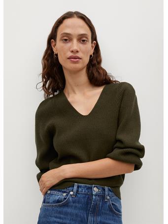 MANGO - Puffed Sleeves Ribbed Sweater MEDIUM BEIGE