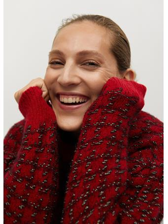 MANGO - Houndstooth Sweater BRIGHT RED