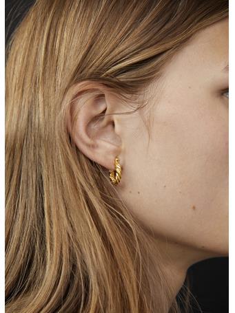 MANGO - Textured Hoop Earrings GOLD