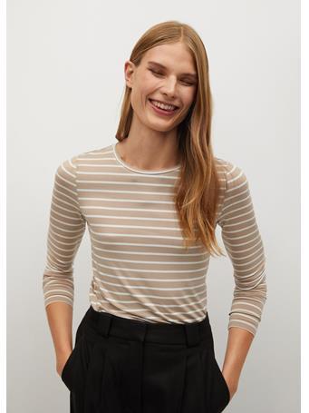 MANGO - Bluma Striped T-Shirt LIGHT BEIGE
