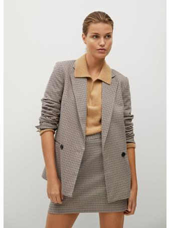 MANGO - Check Miniskirt LT PASTEL GREY