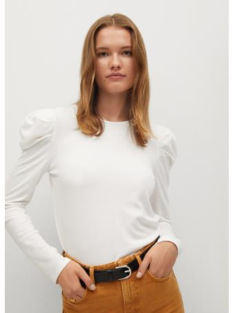 MANGO - Puffed Shoulder T-Shirt NATURAL WHITE