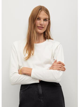 MANGO - Pleat Cotton T-Shirt WHITE