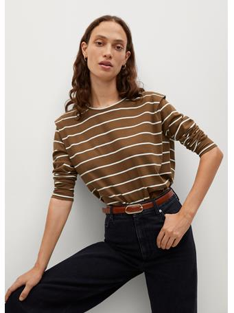 MANGO - Pleat Cotton T-Shirt MEDIUM BROWN
