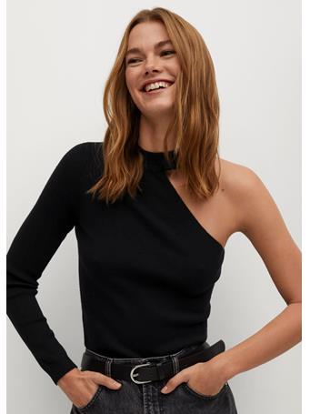 MANGO - Asymmetric Knit Sweater BLACK