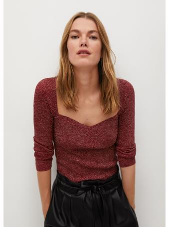 MANGO - Coeurlu Shiny Texture Sweater BRIGHT RED